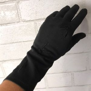 Gloves Black Fabric Vintage Embroidery Eyelets